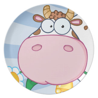 Cow Cartoon Character Dinner Plates