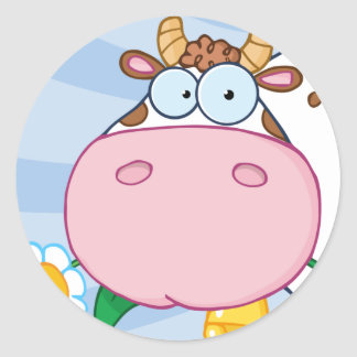 Cow Cartoon Character Round Sticker