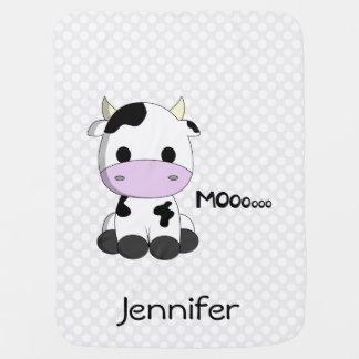 Cow cartoon on polka dots - name baby blanket