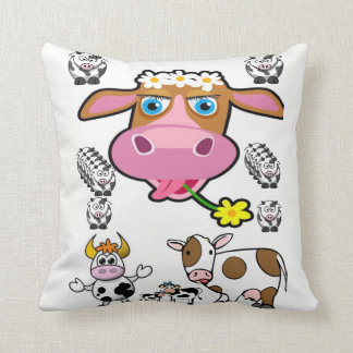 Cow childrens throw decorative pillow