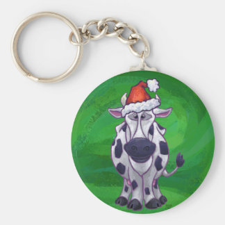 Cow Christmas On Green Basic Round Button Key Ring