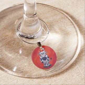 Cow Christmas on Red Feild Wine Charm