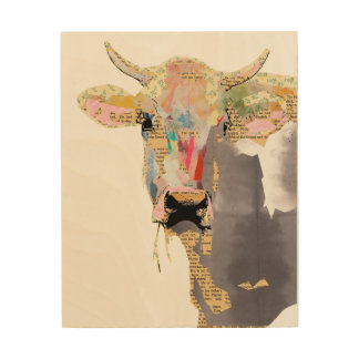 Cow collage on wood wood print
