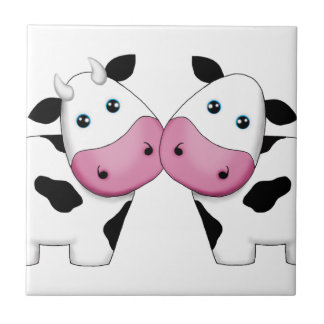 Cow Couple Small Square Tile