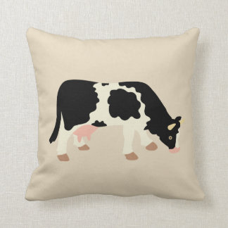 Cow Cowprint Cow Print Reversible Tan Throw Pillow
