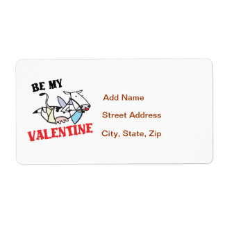 Cow Cupid Valentine Shipping Label