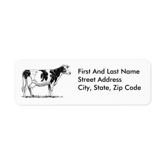 Cow Design Pencil Sketch Return Address Label