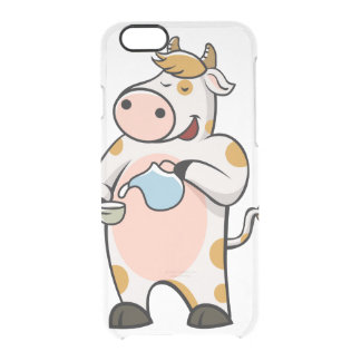 cow drinking milk clear iPhone 6/6S case