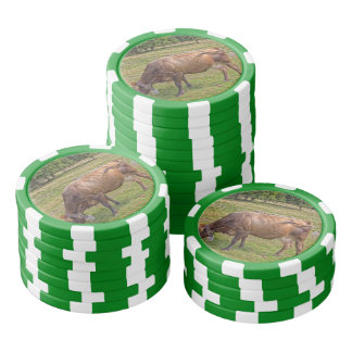 cow eating in a meadow poker chips