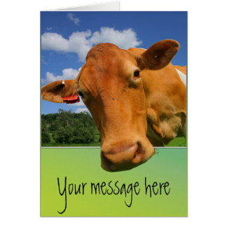 Cow face customisable greeting card