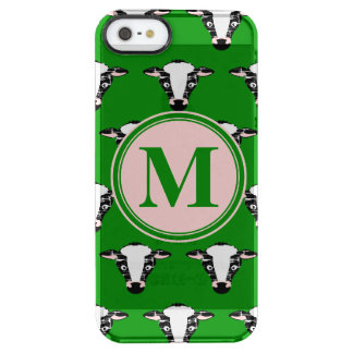 Cow Face Pattern with Customisable Monogram Clear iPhone SE/5/5s Case
