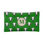 Cow Face Pattern with Customisable Monogram Makeup Bag