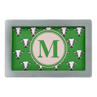 COW FACE tiled zazzle pattern dark green.png Rectangular Belt Buckles