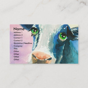 Face painting business cards zazzle au cow face with green eyes watercolor painting business card colourmoves