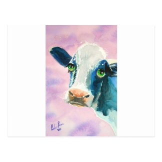 Cow face with green eyes watercolor painting postcards