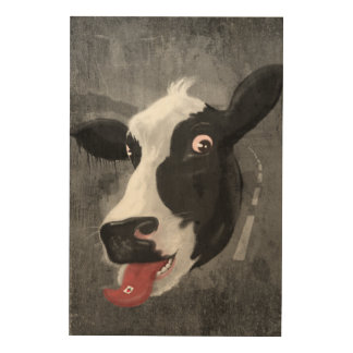 Cow Face Wood Canvas