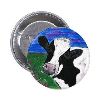 Cow, Farm, Animal, rural, hand painted calf. 6 Cm Round Badge