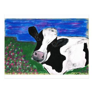 Cow, Farm, Animal, rural, hand painted calf. Postcard