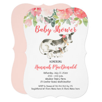 Cow Farm Coral and Pink Floral Baby Shower Invite