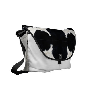 Cow fur courier bag