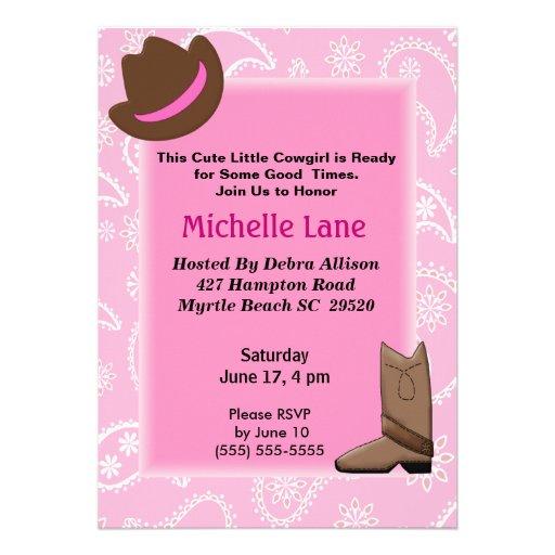 Cow Girl   Birthday Invitation