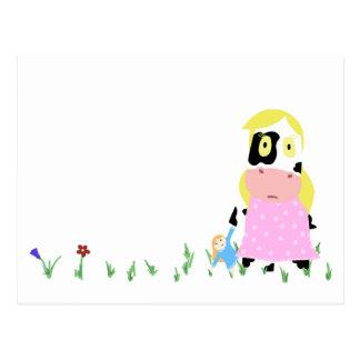 Cow Girl Postcard