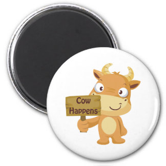 Cow Happens 2 Inch Round Magnet
