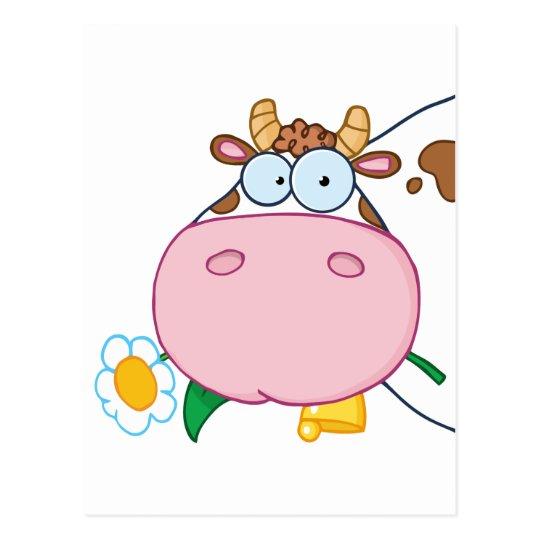 Cow Head Cartoon Character Postcard