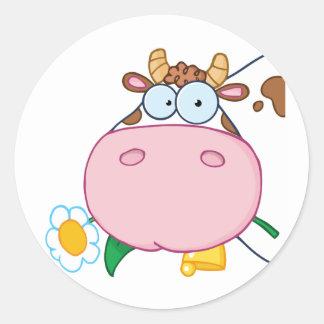Cow Head Cartoon Character Round Sticker