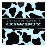 Cow Hide Print Cowboy Baby Shower Invitation
