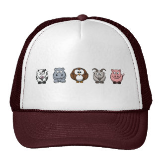 Cow Hippo Owl Goat Pig Mesh Hats