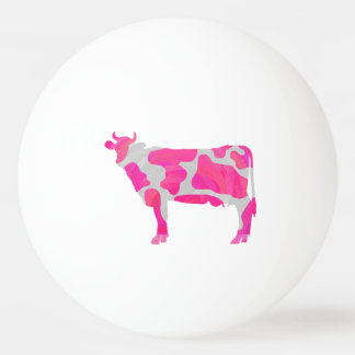 Cow Hot Pink and White Silhouette Ping Pong Ball