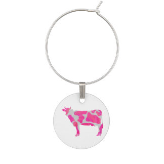 Cow Hot Pink and White Silhouette Wine Charm