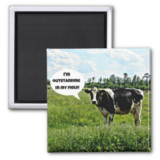 Cow Humor Square Magnet