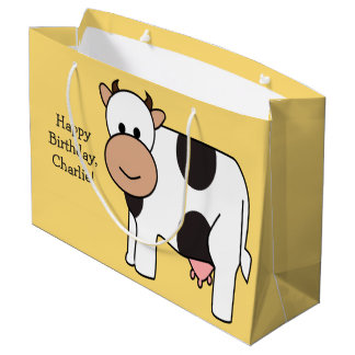 Cow illustration custom text gift bag