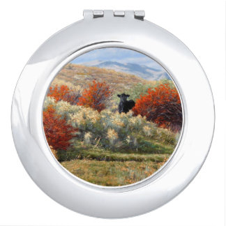 Cow in Fall Setting Compact Mirror