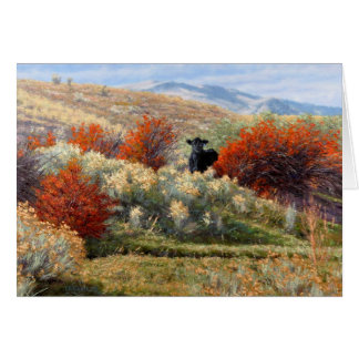 Cow in Fall Setting Greeting Cards