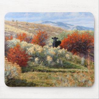 Cow in Fall Setting Mousepad