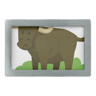 cow in the grass rectangular belt buckles