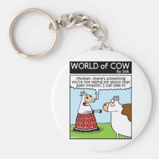 Cow Invaded Basic Round Button Key Ring