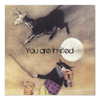 Cow Jumped Over the Moon 13 Cm X 13 Cm Square Invitation Card