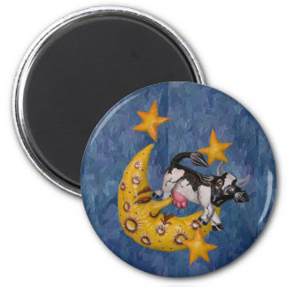 Cow jumped over the Moon 6 Cm Round Magnet