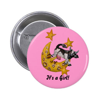 Cow Jumped Over the Moon button Girl