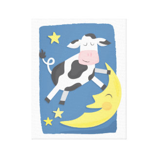 Cow Jumped Over the Moon Children's Canvas Art Gallery Wrapped Canvas