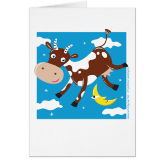 """Cow Jumped Over the Moon"" Greeting Card"