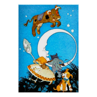 Cow Jumped Over the Moon (in 23 sizes) Poster