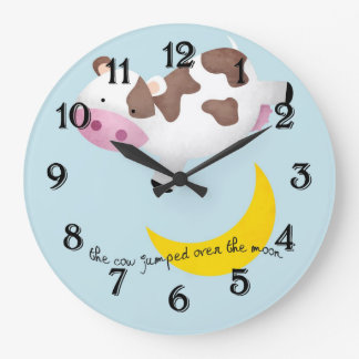 Cow Jumped Over the Moon Large Clock
