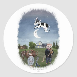 COW JUMPED OVER THE MOON ROUND STICKER