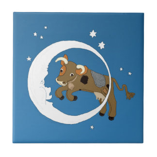 Cow Jumped Over the Moon Small Square Tile