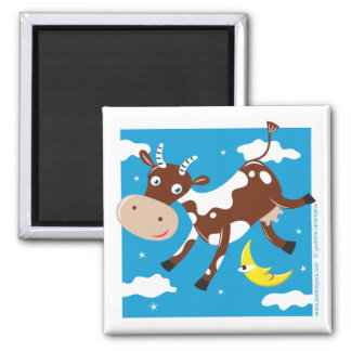 """Cow Jumped Over the Moon"" Square Magnet"